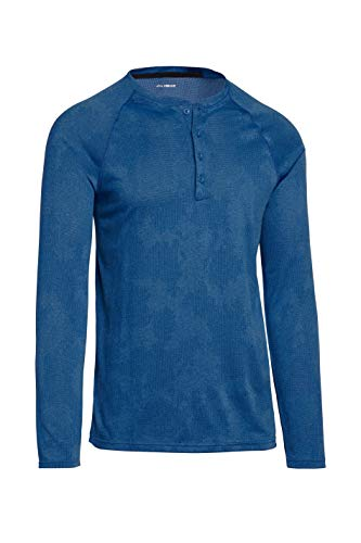 Mens Thermal Long Sleeve Henley - Dry Fit Crewneck Workout Shirt w/Buttons Sea Blue