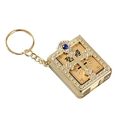 CHoppyWAVE Keychain Key Ring for Women Men, Mini Christian Bible Cross Pendant Keychain Rhinestone Bag Hanging Ornament - Golden