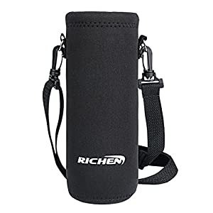 RICHEN Insulated Water/Wine/Tea Bottle carrier Sling Bag Pouch Case with Shoulder Strap 500ml/16oz Bottle Holder Cross-Body Shoulder Bag for Outdoor Sports Camping Travel,Black