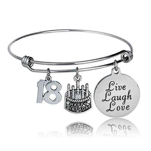 - YeeQin Happy Birthday Bangles, Cake Cheer Live Laugh Love Charms Bangle Bracelets, Gifts for Her (18th Birthday)