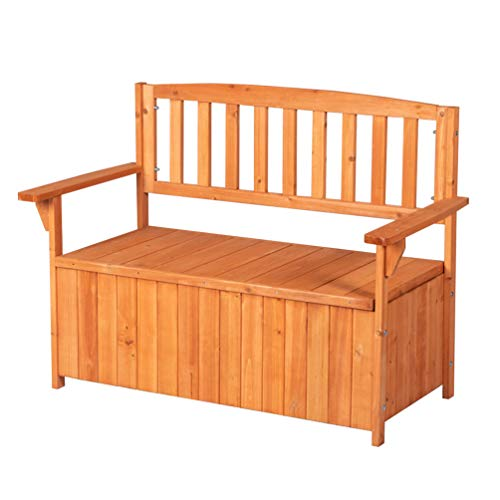 Good Life Outdoor Waterproof Garden Storage Bench Box with Chair Backrest - All Weather Patio Furniture Cabinet Made of Fir Wood