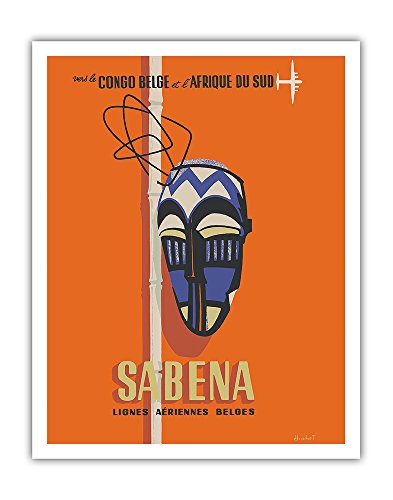 Congo - South Africa - Sabena, Lignes Aeriennes Belges (Belgian Airlines) - Belgian Congo and South Africa - Vintage Airline Travel Poster by Hohet c.1950s - Fine Art Print - 11in x 14in