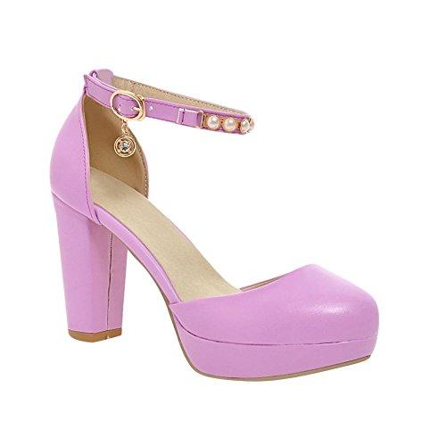 MissSaSa Damen Knöchelriemchen Plateau Chunky high-heel Pumps mit Perlen elegant Blockabsatz Schnalle Sandalen Violett