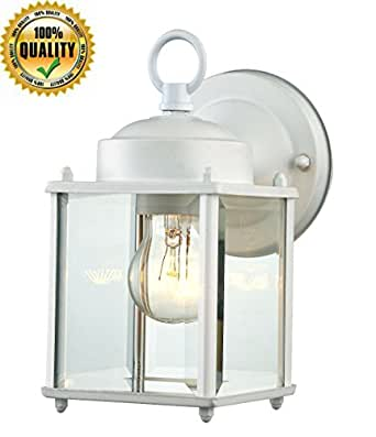 Wall Light Glass Mount Fixture Outdoor Hanging Use 1 Light White Finished Steel Wall Sconce for decorative Patio,Entrance Light, Hallway