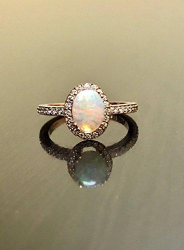 - 14K Rose Gold Diamond Opal Engagement Ring - Genuine Austrlian Opal Rose Gold Diamond Wedding Ring