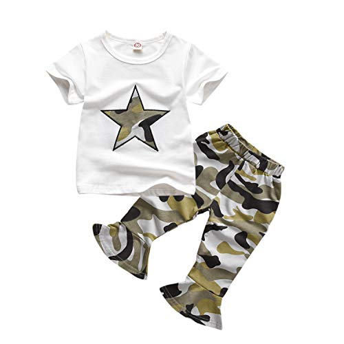Toddler Baby Girls Clothes T-Shirt Top Camouflage Bell-Bottom Leggings Pants Summer Outfit Sets