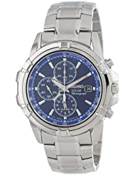 Seiko Mens SSC141 Stainless Steel Solar Watch with Blue Dial