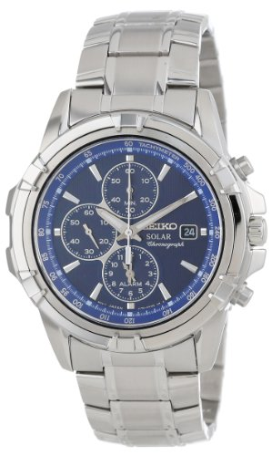 Seiko Men's SSC141 Stainless Steel Solar Watch with Blue Dial (Alarm Chronograph Bracelet)