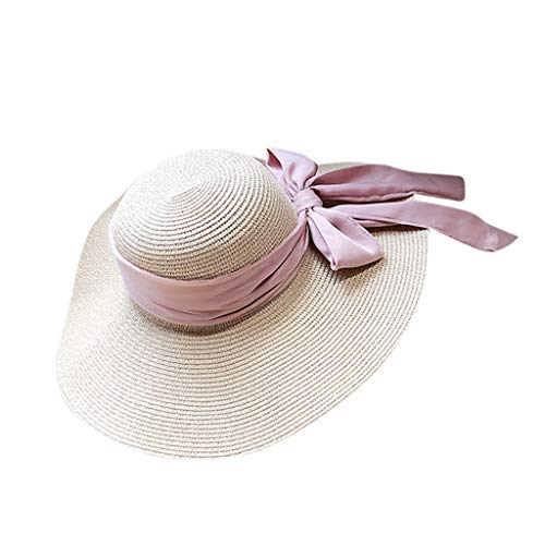 KCPer Women's Wide-Brimmed Straw Hat Foldable Roll up Sun Hat Beach Cap UPF 50+, Ladies Casual Wide Brimmed Floppy Bow Knot Beach Hat