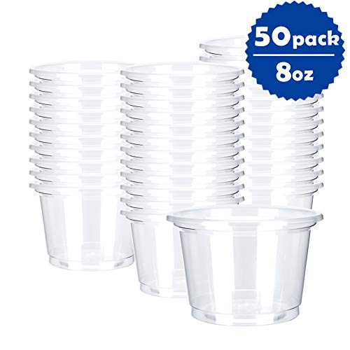 OTOR 8oz Hot/Cold Disposable Plastic Cups - 50 Count - Ice Cream Cups, Snack bowl, Take Away Food Container for Dessert Fast food Soup