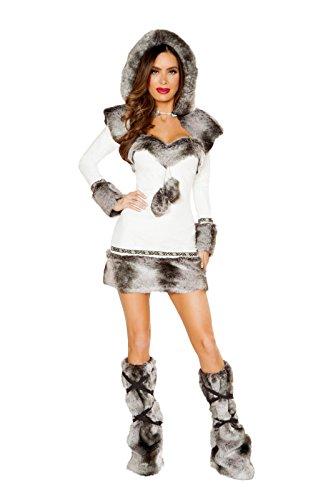 Fest Threads 2 PC Eskimo Snow Babe White & Gray Fur Dress & Hooded Fur Shrug Party Costume -