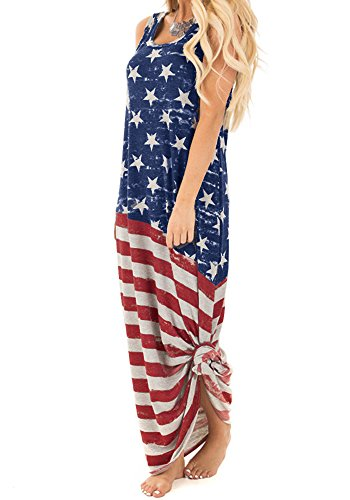 20fe8885c5 Chuanqi Women s Maxi Dresses Sleeveless American Flag Print 4th July  Patriotic Dress