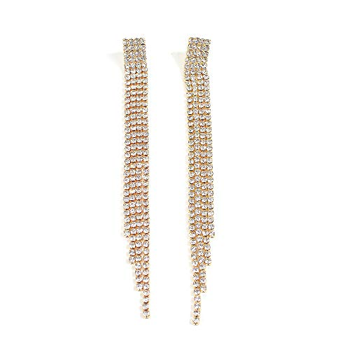 Deniferymakeup Long Tassel Earrings Mix Chain and Crystal Chain Pendant Open Gold Silver Tone Earrings Multi Chain Eardrop Long Earrings Women's and Girls Sparkling Rhinestone Accessories (Gold)