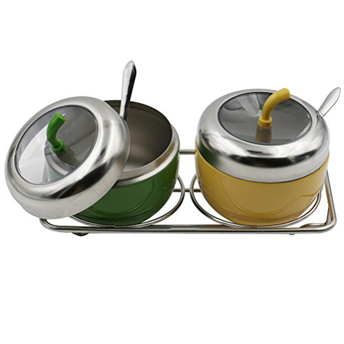 CosCosX 2 Pcs Creative Apple Shape Seasoning Cans, Stainless Steel Spice Jar Kitchen Storage Boxes Dispenser Containers Green Yellow Kitchen Gadget