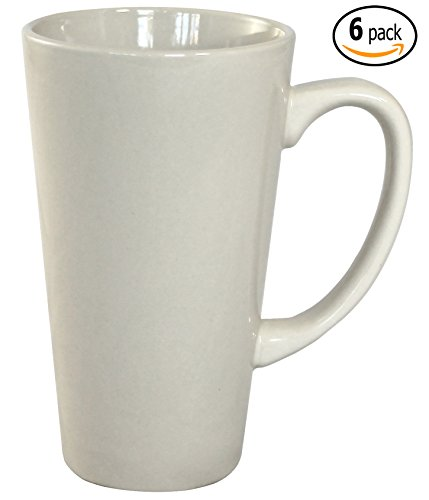ITI Ceramic Tall Funnel Cup Coffee Mugs with Pan Scraper, 16 Ounce (6-Pack, Bone White)