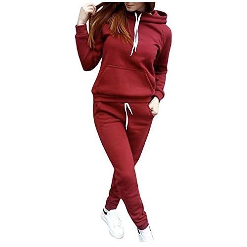 SUKIYAKI Women Jogger Outfit Matching Sweat Suits Long Sleeve Hooded Sweatshirt and Sweatpants 2 Piece Sports Sets Tracksuit
