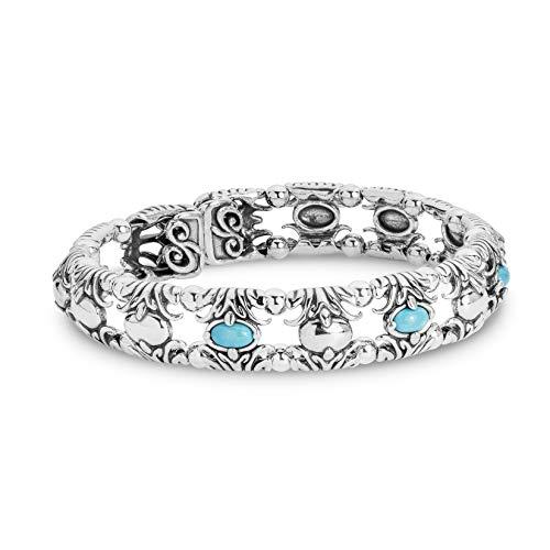 Carolyn Pollack Sterling Silver Blue Turquoise Gemstone Fleur de Lis Cuff Bracelet Size Small