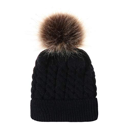 - Fheaven (TM) Newborn baby Boy Girl Winter Soft Knitted Beanie Hat With Faux Fur Pom Pom (Black)