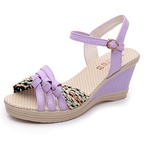 M2 Women's Shoes Purple Braid Block Tribble High Straw Platform Color Jeff Summer Heeled Sandals Wedges OZUS57xqw