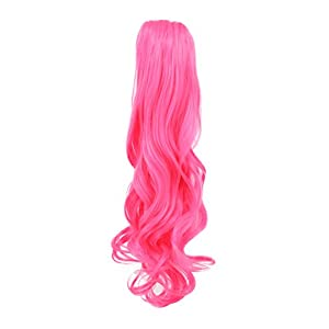 Karlery Curly Clip In Thick Claw Drawstring Ponytail Multi-colored Hair Pony Tail Hair Extension (Hot Pink)