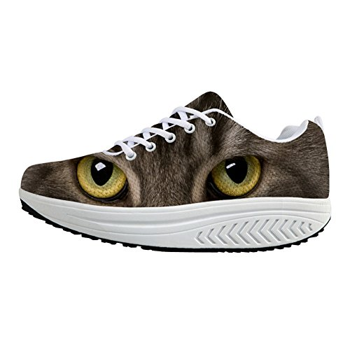 Lace Cat Swing Flexible Women's U 2 Sneakers FOR Animal DESIGNS Wedges Heels Thick Platform Shoes Ups Pattern 3D Rocking wTqZxF