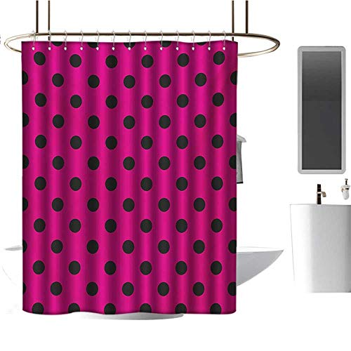 (Qenuan Clear Shower Curtain Liner Hot Pink,Pop Art Inspired Design Retro Pattern of Black Polka Dots Classical Spotted,Hot Pink Black,Washable,Durable,Brick Dobby Pattern for Bathroom 60