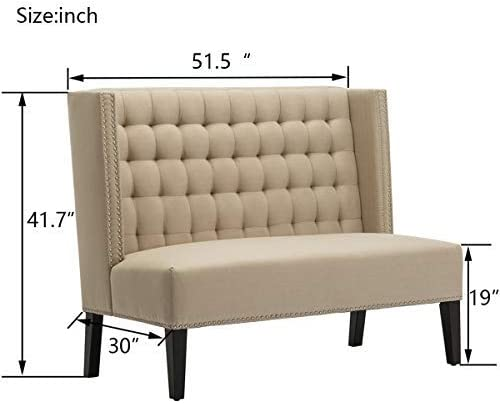 Modern Settee Bench Banquette Button Tufted Sofa Couch Ding Bench Chair 2-Seater with Nail Head Trim