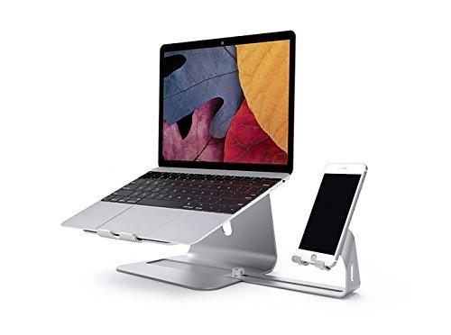Portable Laptopständer mit Handy Halterung, Hizek Aluminum Laptop Ständer und Handy Ständer Kühler Laptop Ständer Notebookstativ für Apple Macbook, Computer und Notebooks (Silber)