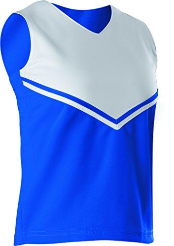 - Alleson Girls Cheerleading V Shell Top with Braid, Royal/White, Medium