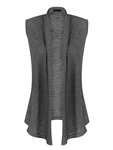 VESSOS Pockets Sleeveless Asymetric Cardigan
