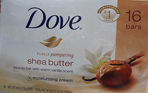 Dove Purely Pampering 16-4 OZ Shea Butter Bar Soaps, Warm Vanilla Scent, 64