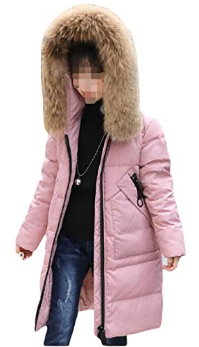 Giù Puffer Di Con amp; E Zip Ragazza Outwear Cappotto lungo Cappuccio Eco pelliccia Rosa H Medio Inverno T06PHqIH