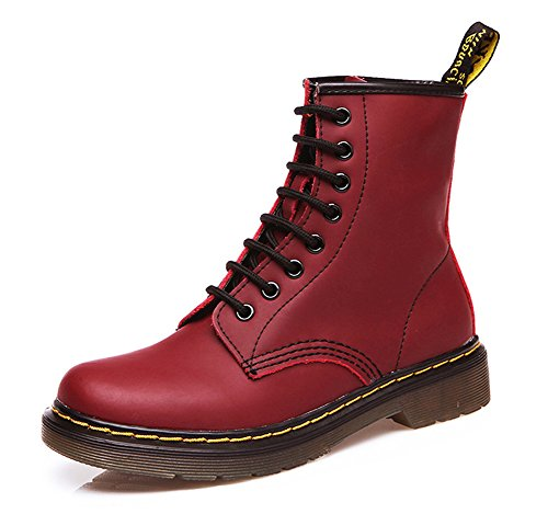 Aisun Womens Comfortable Round Toe Flat Booties High Top Lace Up Ankle Martin Boots Red 1 H7gOiHxUx