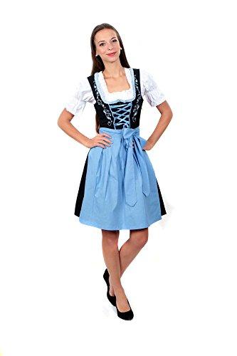 3tlg. Dirndl Set Schwarz Hellblau mit Bluse und Schürze, Gr. 42