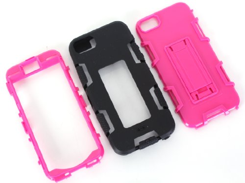 iPhone 5 5S SE Shockproof Custodia,Heavy Duty Rosa PU & PC Urti Assorbimento Case Robusto Back Paraurti Caso Armatura ibrida Kickstand Protettiva Case Shell Cover per iPhone 5 5S SE