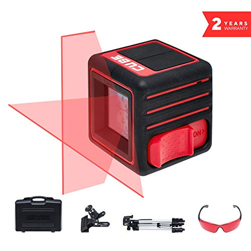 ADA Cube Ultimate Edition, Laser Level, Crossline Self-Leveling Laser Level complete Kit, 20 meters (65 feet) tripod, universal clamp and glasses included A00344