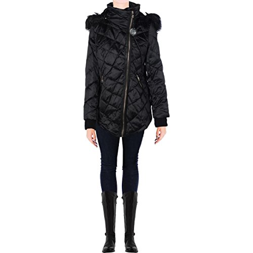 Steven By Steve Madden Womens Diamond Quilt Faux Fur Jacket Black M