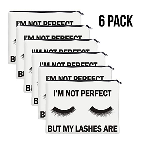 QincLing 6 Pack Eyelashes Makeup Bag - Cosmetic Pouch Bag Make Up Bag Travel Toiletry Case Pencil Case Organizer with Zippered for Travel Toiletry Beauty Pencil Bag (6 Pieces) (Best Friend Break Up Letter)