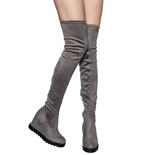 Beston EJ06 Frauen Stretchy Snug Fit Plattform Side Zip Oberschenkel hohe Keil Stiefel Grau