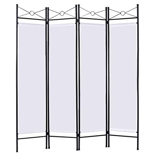 Giantex 4 Panel Room Divider Screens Steel Frame & Fabric Surface Freestanding Room Dividers and Folding Privacy Screens Home Office, (Outdoor Decorative Room Divider)