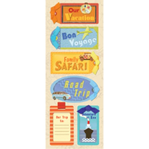 Happy Trails Adhesive Chipboard-Luggage - Chipboard Tags Adhesive