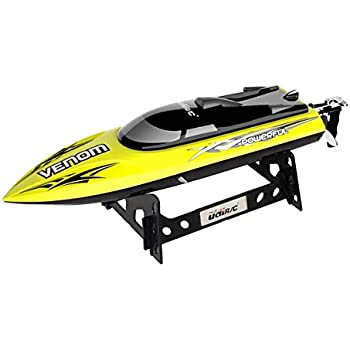 UDI001 Venom Remote Control Boat for Pool & Outdoor Use – RC Racing Boat with Remote Control; Force1 High-Speed Series RC Boats for Adults & Kids + Bonus Battery (Limited Edition Yellow)