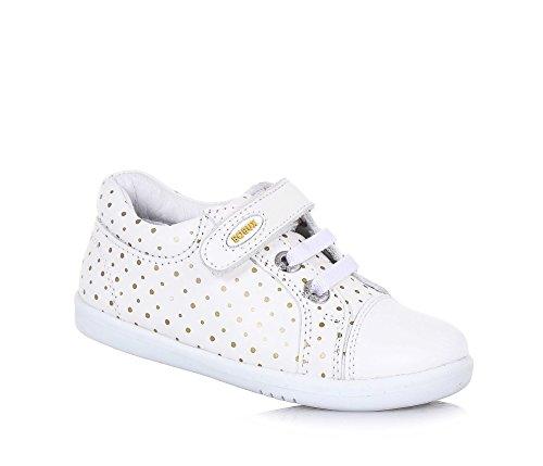 BOBUX - Weißer I-Walk Trouble Schuh aus Leder, made in New Zealand, mit goldenen Tupfen, mit Klettverschluss, Mädchen