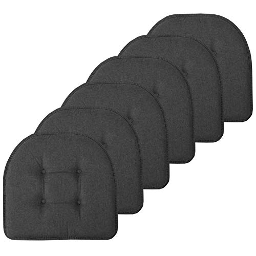 Sweet Home Collection Chair Cushion Memory Foam Pads Tufted Slip Non Skid Rubber Back U-Shaped 17″ x 16″ Seat Cover, 6 Pack, Charcoal Gray
