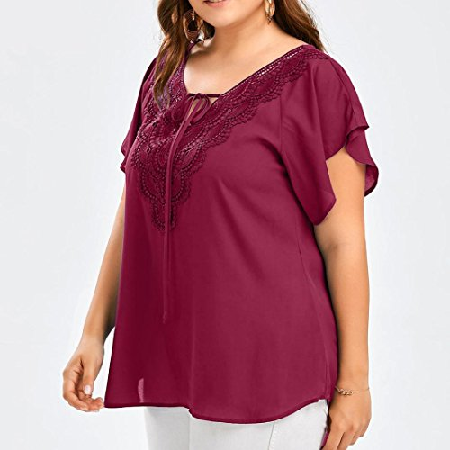 Courtes rouge Aux Manches Grande Tops Courbe T Camisole Taille Blouse LMMVP Dentelle Femmes ❤️ ❤️LMMVP Femmes shirt Femme vin en Bat RYaxqT