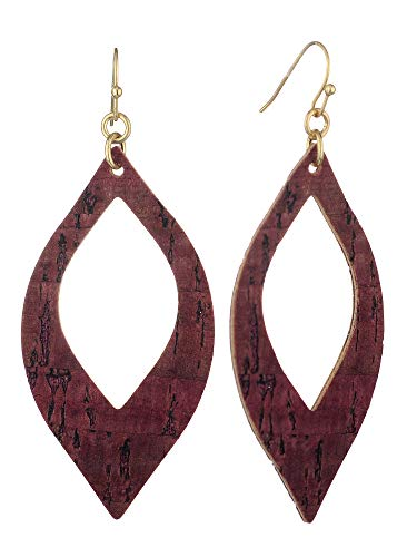 Almond Shaped Earrings - Women's Textured Open Cut Almond Shaped Dangle Pierced Earrings, Wood Burgundy