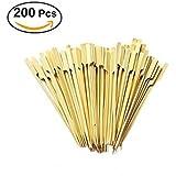 OUNONA 200Pcs Bamboo Paddle Pick Skewers Roasting Sticks for Fruit BBQ Use,18cm