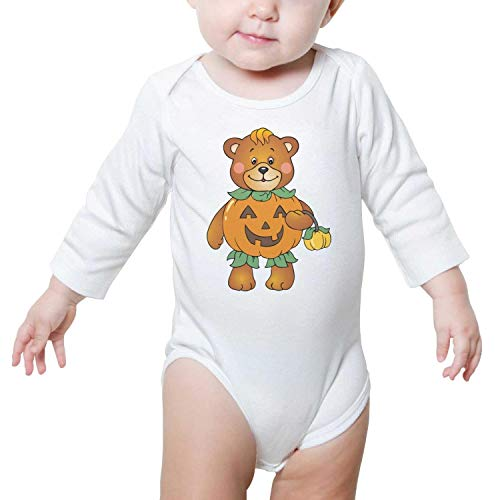 Kijhsaa Halloween Pumpkin Bear Infant Boys Girls Long Sleeve Baby Onesie Cute Baby Clothes ()