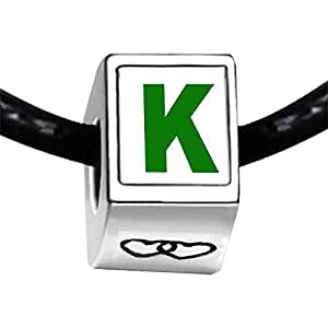 Chicforest Silver Plated Green Letter K Photo Double Heart Charm Beads Fit Pandora Bracelet