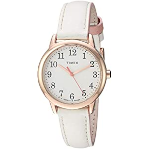 Timex Women's Casual Easy Reader Color Pop 30mm Leather Strap Watch, Beige Dial, White Band (Model: TW2T539009J)